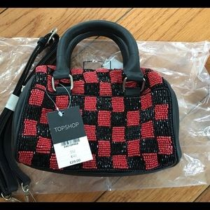 New TOPSHOP Checkerboard Mini Bowler Bag